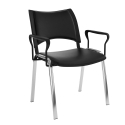 Chaise Smart Structure Chrome Dossier Et Assise Tapisses avec Accoudoirs