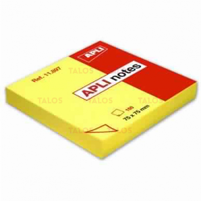 Notes repositionnable 75x75 mm jaune brillant 100 feuilles