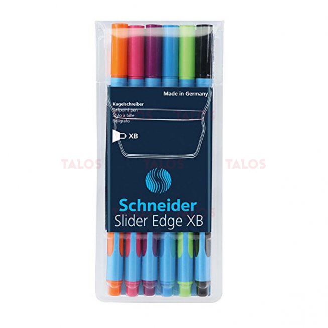 Pochette de 6 stylos Schneider Slider edge XB couleurs