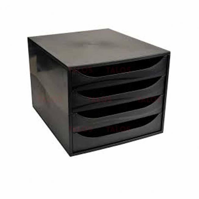 Bloc 4 tiroir Exacompta Ecobox noir & noir