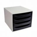Bloc 4 tiroir Exacompta Ecobox gris & noir