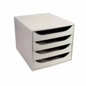 Bloc 4 tiroir Exacompta Ecobox gris & gris