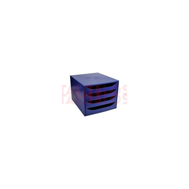 Bloc 4 tiroir Exacompta Ecobox bleu nuit & bleu nuit