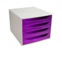 Bloc 4 tiroir Exacompta Ecobox gris & violet transparent