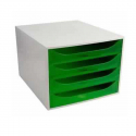Bloc 4 tiroir Exacompta Ecobox gris & vert transparent