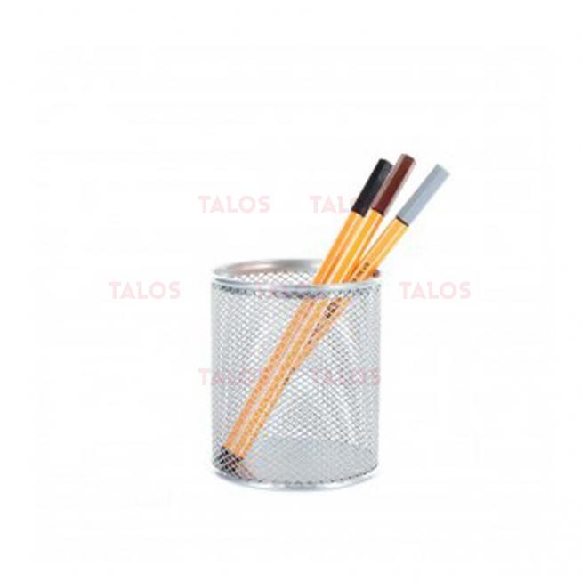 Pot à stylo métal gris