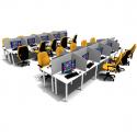 Ensemble call center 10 positions avec separation gris