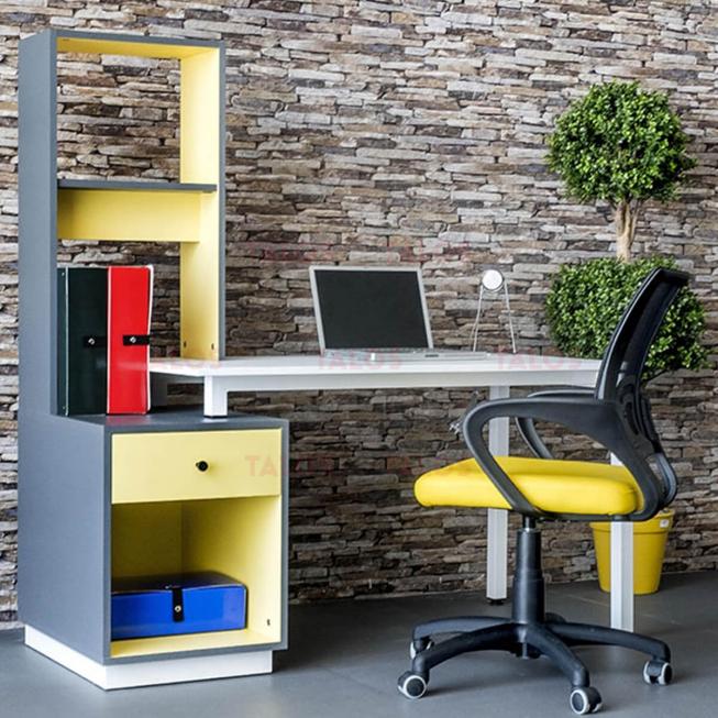 Bureau Home Jaune et Gris/socle Blanc