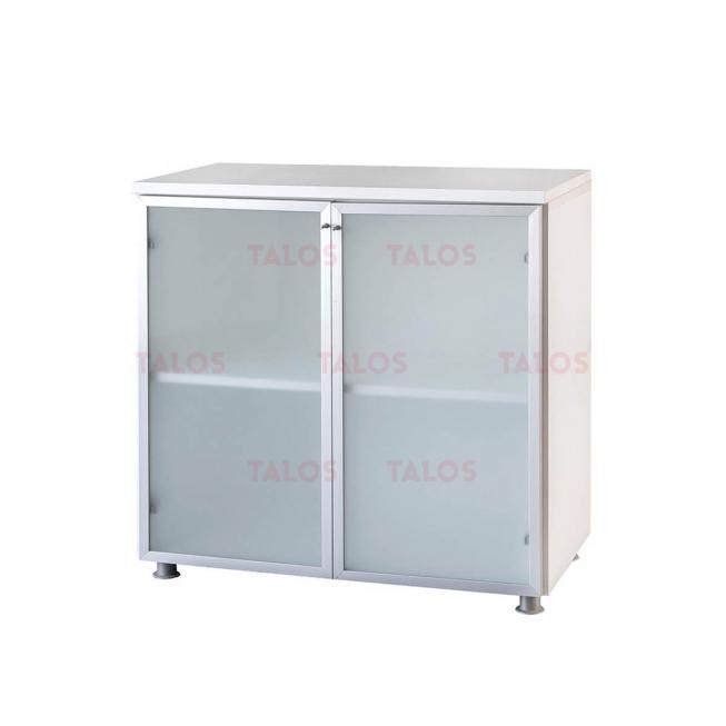 Elément milano bas à 2 portes aluminium verre sablé