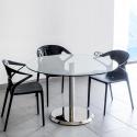 Table de réunion Clio diamètre 120 en verre socle Inox
