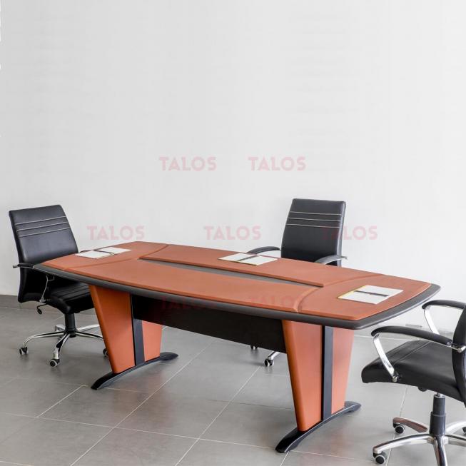 Table de réunion Padova PVC 240 Cm Piètements Padova avec Sous-Main en simili cuir