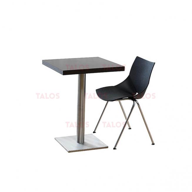 Table Inox carré 70x70 en bois stratifié