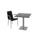 Table Inox carré 70x70 en verre