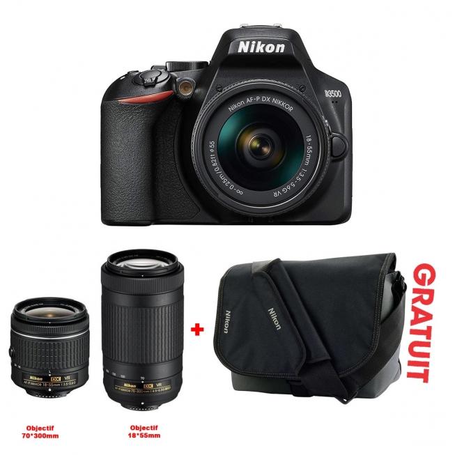 Appareil Photo NIKON D3500 + Objectif 18X55mm +OB 70X300+Sacoche