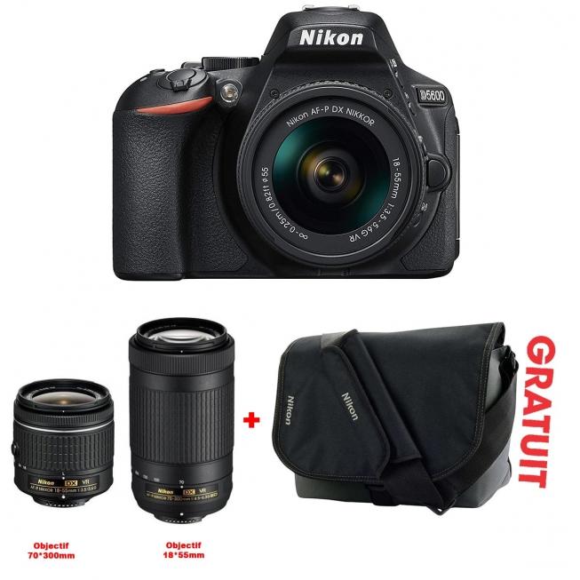 APPAREIL PHOTO NIKON D5600+OBJECTIF 18-55MM+Obj 70-300+SACOCHE